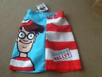 PAIR ( NEW STILL WITH TAG ON ) WHERES WALLY? SWIM SHORTS AGE 9-10 YEARS