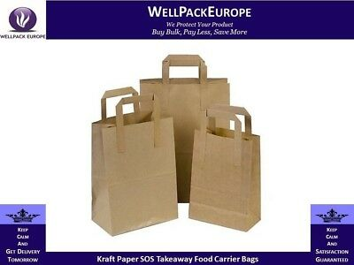 500 x SOS BROWN KRAFT PAPER CARRIER BAGS WITH HANDLES - MEDIUM - CHEAP PRICE**