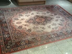 100% pure new wool rug 230cm x 170cm-excellent condition from smoke&pet free home-peach,black,