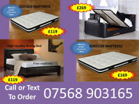 BED BRAND NEW DOUBLE TV BED MATTRESS DOUBLE KING FAST DELIVERY 058