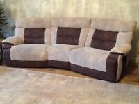 4 seater curved settee, 3 seater settee and chair, excellent condition only one year old