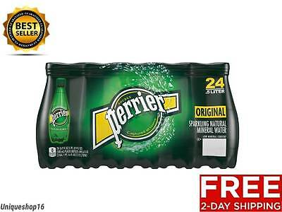 NEW PERRIER SPARKLING NATURAL MINERAL WATER PLASTIC BOTTLES 24 PACK SUGAR FREE