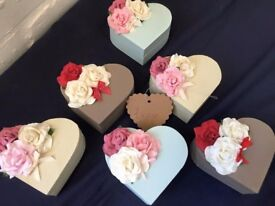 Small Shabby Chic Heart Shaped Trinket boxes