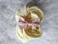 Yellow stretch wrap and elasticated bow headband, newborn baby girl photo prop, ready to collect