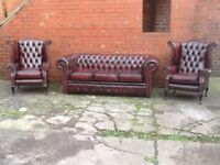 3 PIECE LEATHER CHESTERFIELD SUITE IMMACULATE CONDITION STUNNING SET CLASSIC OXBLOOD CAN DELIVER