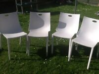 4 X White Resin Patio Chairs
