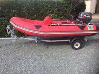 12 ft zodiac rib on snipe trailer with 30 hp suzuki outboard motor