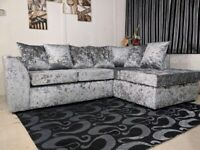 DREAMS FURNITURES - BRAND NEW BYRON CRUSH CORNER SOFAS AVAILABLE IN 3+2 SET