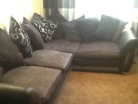 Large DFS Lefthand black and gray corner sofa