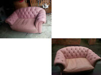 2 SMALL 2 SEATER PINK PENDRAGON ITALIAN SOFAS CHUNKY AND COMFY SOFAS COST £3000 NEW £59.99 PAIR
