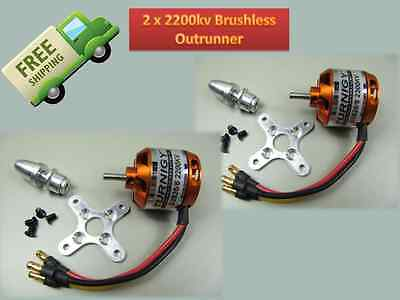 2 PACK Turnigy 2822-2200kv Outrunner Brushless Motor RC Plane Copter accessories