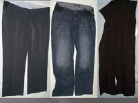 Bundle of 3 maternity trousers under bump & track suit bottom, size 16M. 2x Next (used) & M2B (new).