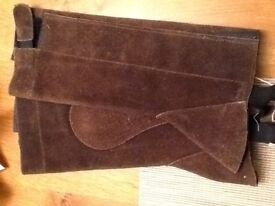 Brown Suede Child's chaps ; Velcro sides - BNWT