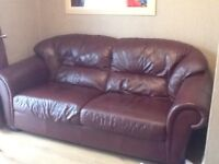 3 and 2 Seater wine leather sofas