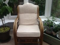 Cane two seater sofa and two chairs, beige and cream cushions, good condition