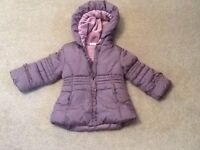 Girls plum colour coat age 1-2 yrs