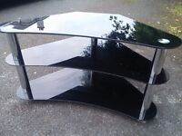 Silver & Black Coloured Glass TV Stand