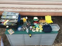 JOB LOT OF FISHING TACKLE INCLUDING LARGE AMOUNT OF LINES, HOOKS, SEA WEIGHTS AND BOXES - BARGAIN.