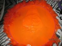 ORANGE PVC LARGE WITCH HAT PURPLE WITH FEATHER TRIM NEW WITH TAGS ON GREAT FOR HALLOWEEN