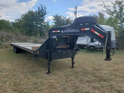 40 Ft Hotshot Trailer Flatbed Gooseneck Ironbull With Builtin Heavy Duty Ramps
