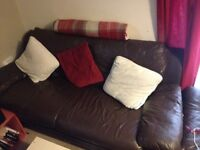 FREE!! 3 seater brown leather sofa