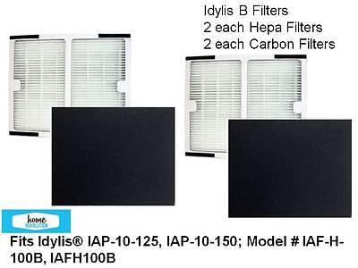 2-PACK HEPA + 2 CARBON  Idylis B~ IAP-10-125, IAP-10-150 ~IAF-H-100B, IAFH100B