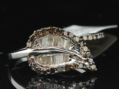 Ladies Sterling Silver Leaf Brown Champagne Diamond Engagement Ring Bridal Set