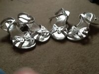 Bridesmaids shoes, two pairs silver sandals, sizes 3 and 5