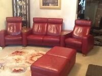 Stressless Red leather Entertainment sofa and double foot rest