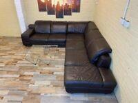 Splendid Large Brown Leather Corner Sofa