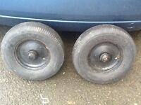 A pair of 8 inch trailer wheels (£20)