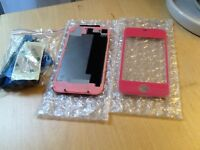 Iphone 4/4s pink glass fron & back cover with tools