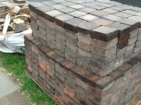 Block Pavers for driveways or path, cobble style 14msq brindle red/grey