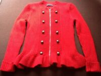 Womens Knitted Jumper with Zipped front in Red by M&S size UK 16