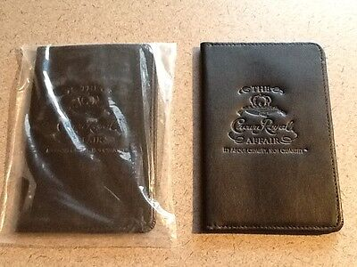 NEW Lot of 2 Black Leather Crown Royal Passport ID Holder Travel Cover Protector