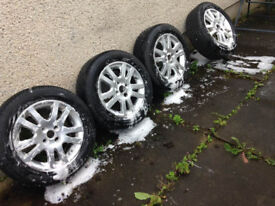 4 x Honda Civic Classic 10 spoke Alloy wheels 4 x 100 PCD with 4 tyres,1 brand New Avon British Tyre