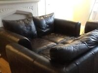 Brown leather 2 & 3 seater sofa and footstool