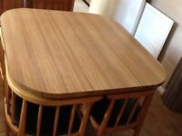 1970 VINTAGE COMPACT TABLE and 4 CHAIRS