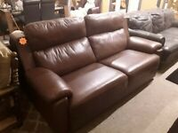 Brown leather 3 seater sofa Copley Mill LOW COST MOVES 2nd Hand Furniture STALYBRIDGE SK15 3DN