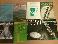 Collection of flute sheet music books