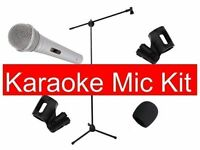 Microphone Bundle Karaoke Mic Stand Clips And Windshield