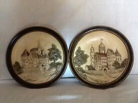Pair of antique terracotta clay wall plaques