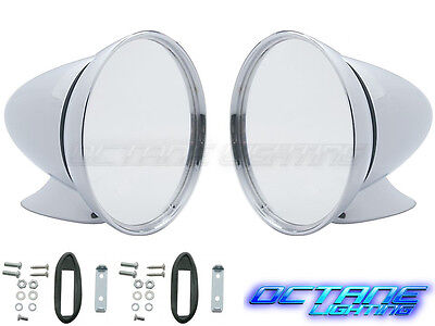 "4.5"" Talbot Shelby British Style Fender Door Mount Chrome GT Racing Mirror Pair"