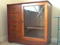 Yew high unit. Storage for CD's. Leaded glass door