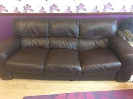 FREE!! Brown leather 3 seater sofa FREE!!