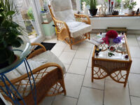conservatory like new 3 piece wicker 2 chairs and 2 seater settee and coffee table bought jul 2016