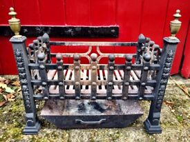 Heavy Cast Iron Fire Grate with brass detail