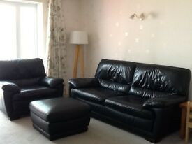 Harvey's black leather sofa, chair and footstool