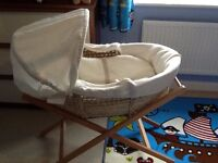 Mamas and papas Moses basket with stand.
