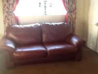 Real leather large 3 seater sofa